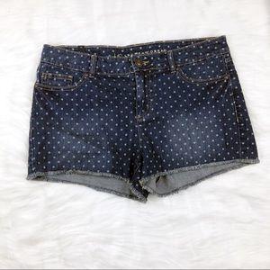 NEW Women/'s LC Lauren Conrad Crochet Applique Shorts White Stretch Frayed Hem